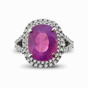 Natural Pink Sapphire & Diamond Cluster Ring 5.03ct